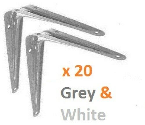 "14/"" X 12 INCH BOX OF 20 LONDON SHELF BRACKETS SUPPORT BRACKET METAL GREY /& WHITE"
