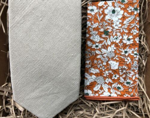 Groomsmen Gifts Cream Linen Beige Tie and Floral Pocket Square Ties for Men