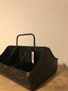 Chic Antique Aufbewahrungsbox Kiste 6-Fächer, metall, schwarz, nostalgisch Shabb