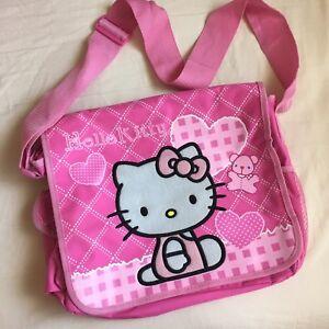 Image Is Loading Nwot Hello Kitty Canvas Messenger Shoulder Crossbody Bag