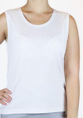 - weiß Streifen breite Träger Viskosemisch zart glänzend Top