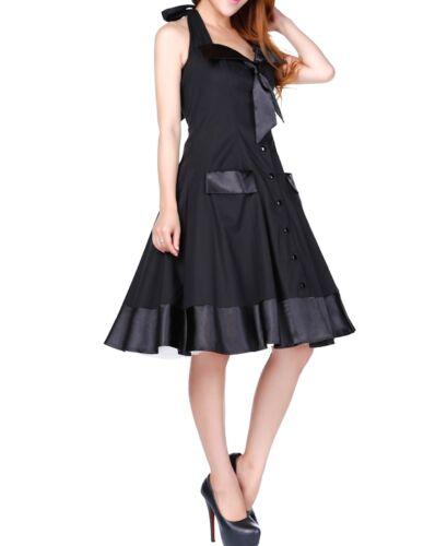 Black Retro 50s Rockabilly Vintage Sailor Halter Summer Midi Swing Cotton Dress