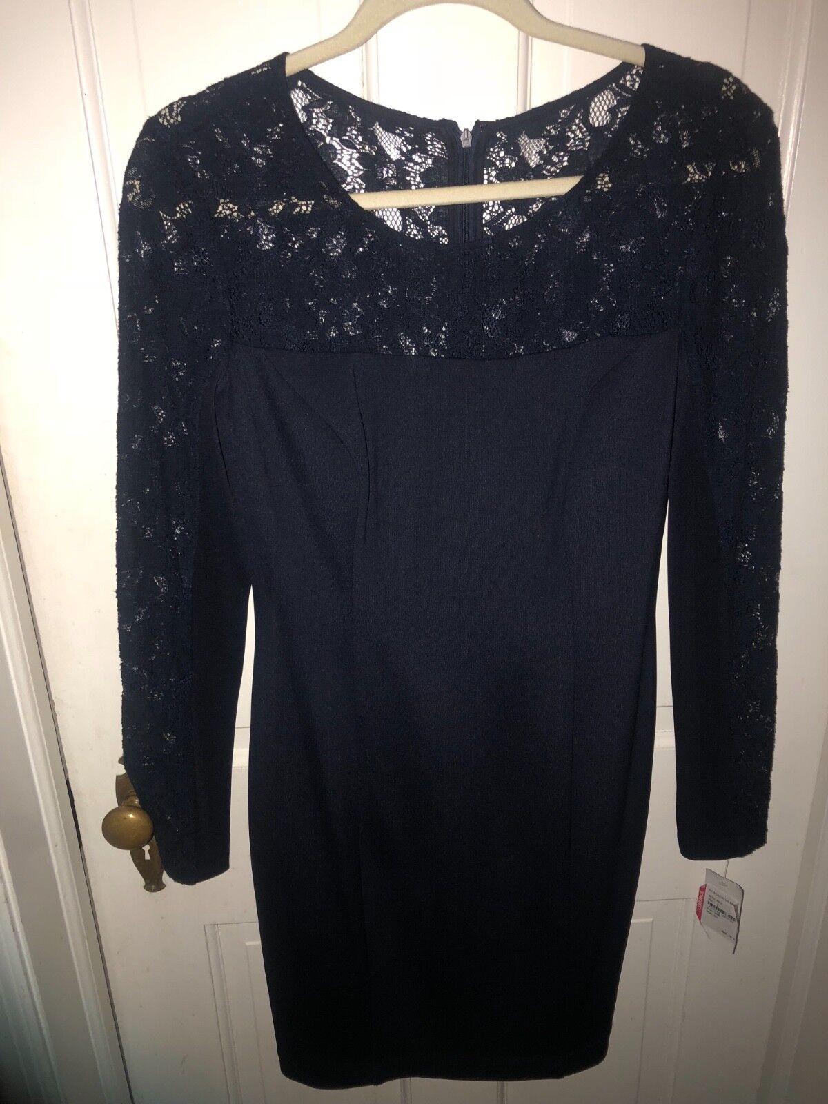 NWT Jessica Simpson navy Blau cocktail dress with lace Größe 8