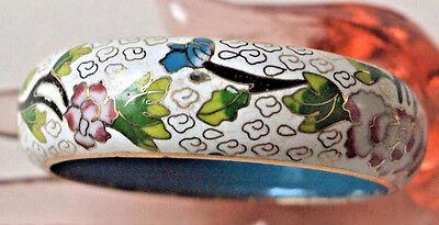Antique Chinese Cloisonne Enamel Bracelet - Wide Bangle Bracelet - White, Green,