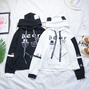 Black&White Bear Kawaii Harajuku Hooded Pullover Sweatshirts Tops Hoodies Thin