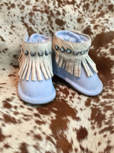 Blue Infant Western Baby Boots Booties Hair on Hide Fringe NEW Various Sizes