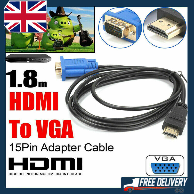 HDMI to VGA Cables HD-15 D-SUB Video Adapter HDMI Cable for PC HDTV Monitor