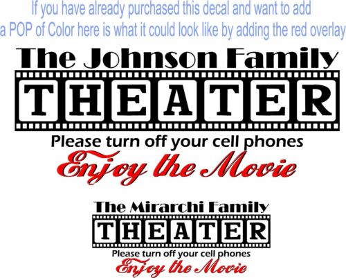 Enjoy the Movie Overlay for Theater Theatre Cinema decals Red and Black decals