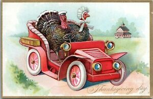 Tuck-039-s-Anthropomorphic-Turkeys-Driving-Antique-Car-Thanksgiving-Postcard-123-AP