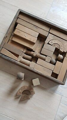 Clever Antikes Natur Holzspielzeug Konstruktionskasten Baukastenbauklötze20er Jahre