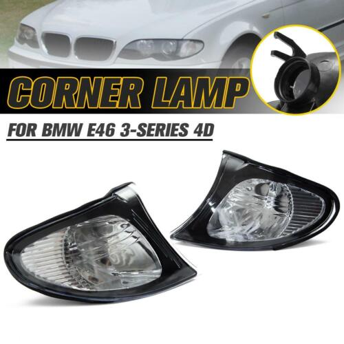 1Pair L/&R Corner Turn Signal Lights Crystal Clear for 02-05 BMW E46 3-Series 4DR