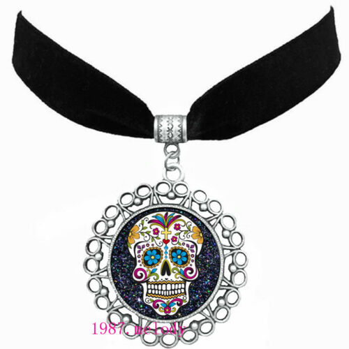 Women/'s Fashion Jewelry Velvet Bande Argent Collier Pendentif ( Sugar Skull ) A625