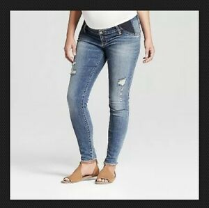 2d14c6df59cc6 Isabel Maternity Jeans 14 SKINNY Cropped Crossover Panel Stretch 26 Inseam