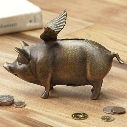 Rustic Whimsical Decorative Flying Pig Money Coin Piggy Bank Aluminum Figurine
