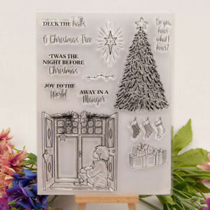 Silicone Clear Stamp Transparent Rubber Stamps DIY Scrapbook Christmas tree QP