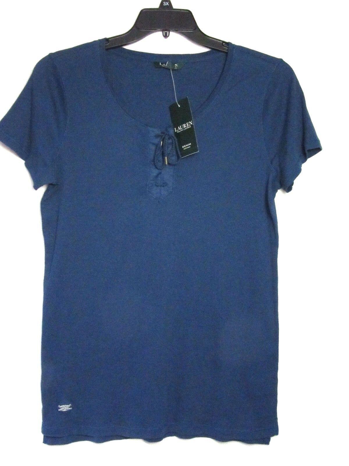 NWT Ralph Lauren Denim 1X Lt. Indigo bluee Knit Top Tee Tie Front NEW Cat Rescue
