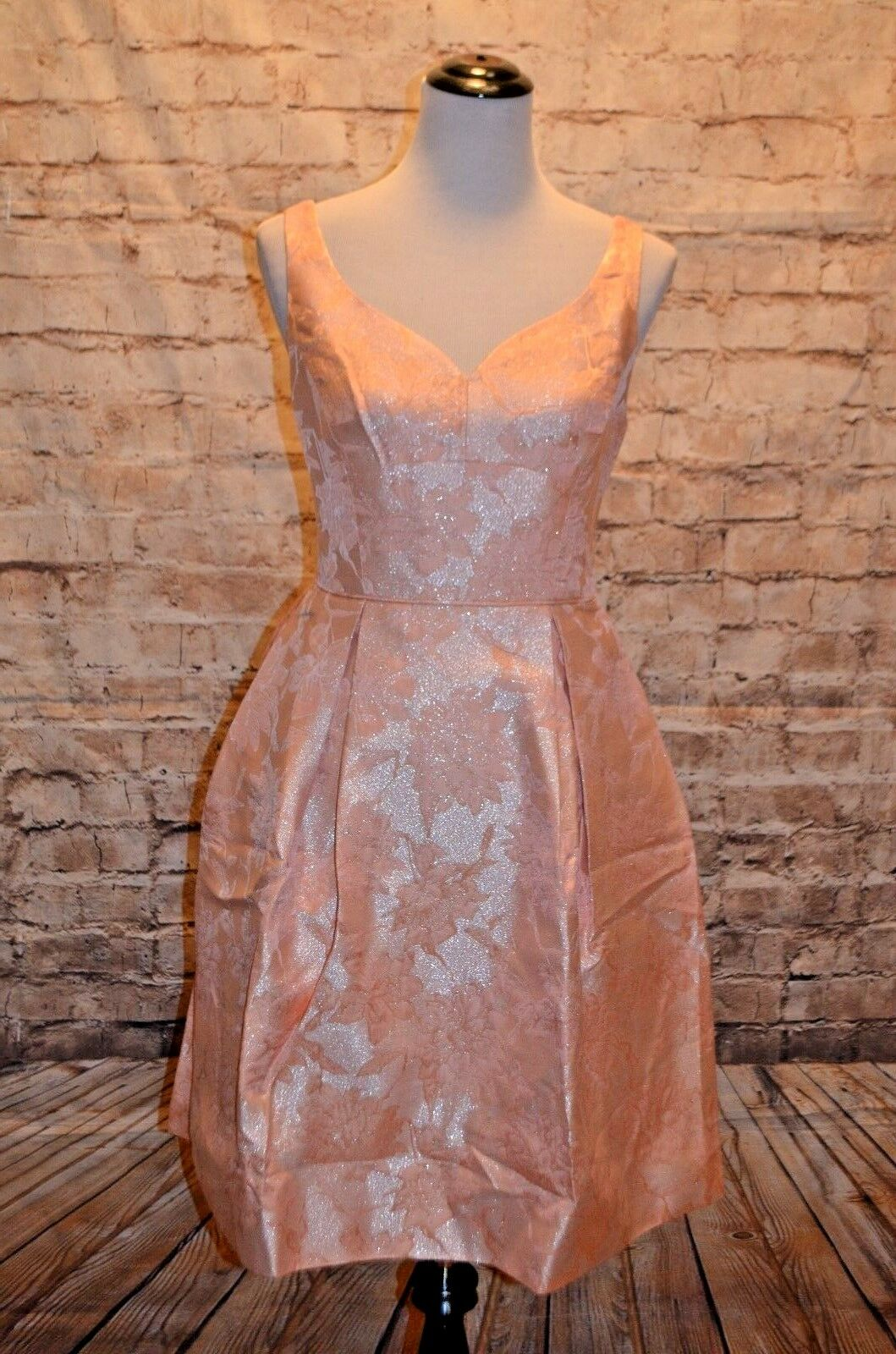 Modcloth Stylish Serendipity Dress NWT 8 peach fit & flare jacquard Maggy London