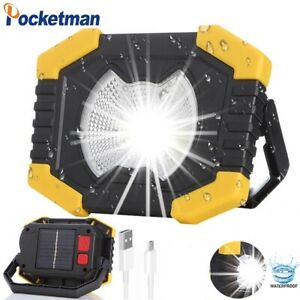 80000LM Solar Energy LED Work Light USB Rechargeable Flashlight Camping Lamp
