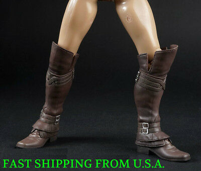 1//6 Assassin/'s Creed Leather Boots BLACK Roman Soldier Armor For Hot Toys ❶USA❶