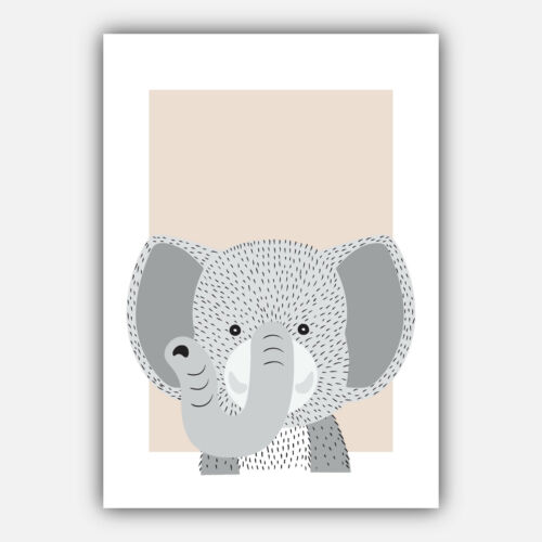 Art Print FOREST ANIMAL SKETCH Picture Poster BEIGE /& GREY Nursery Baby Wall