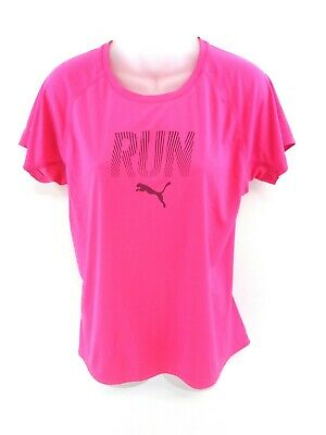 Puma Womens T Shirt Top 12 M Medium Pink Polyester