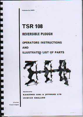 """Ransomes /""""TSR 108/"""" Reversible Plough Instruction and Illustrated Parts Book"""