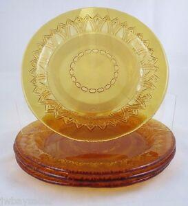 Amber Glass Art Deco 4 Dessert Salad Plates STUDIO NOVA 8.25 ...