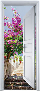 Sticker porte trompe l 39 oeil d co escalier fleurie 90x200 for Sticker decoration de porte trompe l oeil escalier