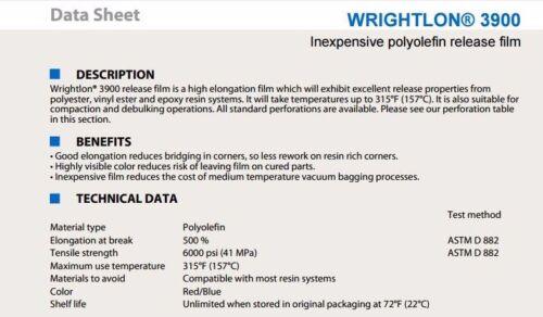 "60/"" Width X 4 YARDS Airtech Wrightlon 3900 Perforated Release Film Polyolefin LR"