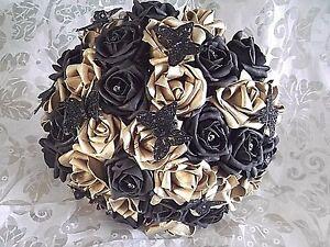 Bouquet Sposa Nero.Dettagli Su Nero E Oro Rose Matrimonio Damigelle Bouquet Da Sposa Farfalle Diamanti Mostra Il Titolo Originale