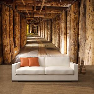 fototapete salt mine 366x254cm tapete salzmine bunker holz baumstamm ebay. Black Bedroom Furniture Sets. Home Design Ideas