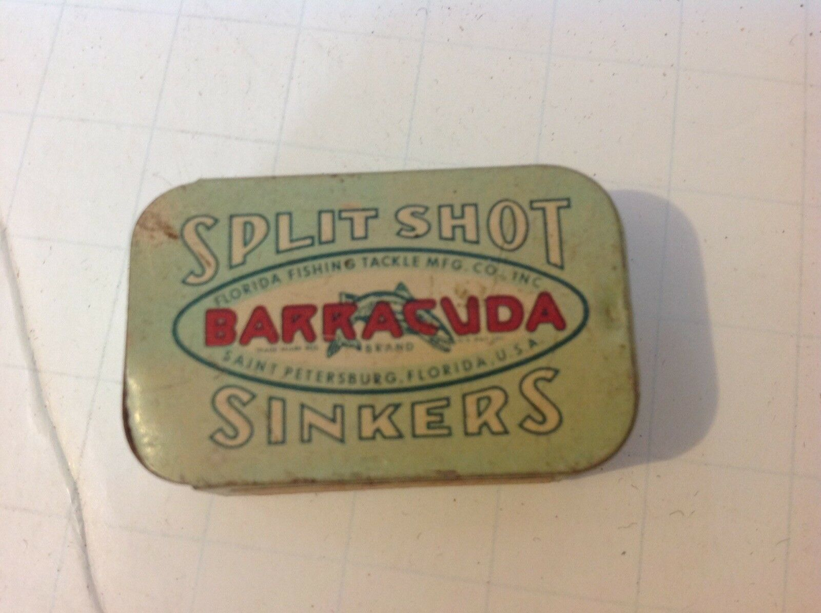 Barracuda Split Shot Sinkers Vintage Tin With Sinkers, St. Petersburg, Florida