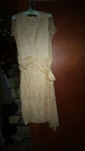 1e1d85bef84 Image is loading Antique-Wedding-Dress-Champagne-Satin-and-Lace-Flapper-