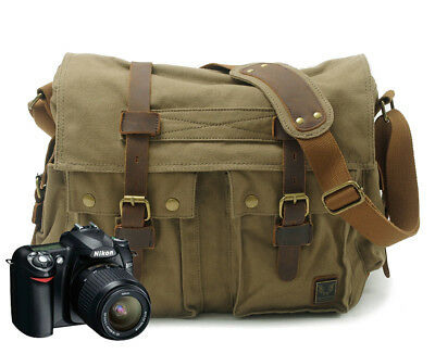 Canvas DSLR Shoulder Messenger Laptop Photo Camera Bag Case For Sony Canon Nikon