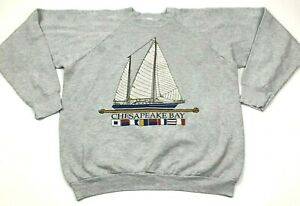 VINTAGE-Chesapeake-Bay-Sweater-Size-Extra-Large-XL-Gray-Long-Sleeve-Crewneck-USA