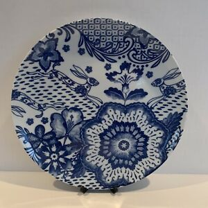 Pier-1-Imports-BLUE-HARE-DINNER-PLATE-Floral-Rabbit-Bunny-Flowers-Blue-White-NWT