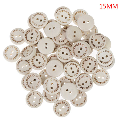 50pcs Handmade With Love Wooden Round Buttons With 2Holes 3 Sizes 15//20//25mm KC
