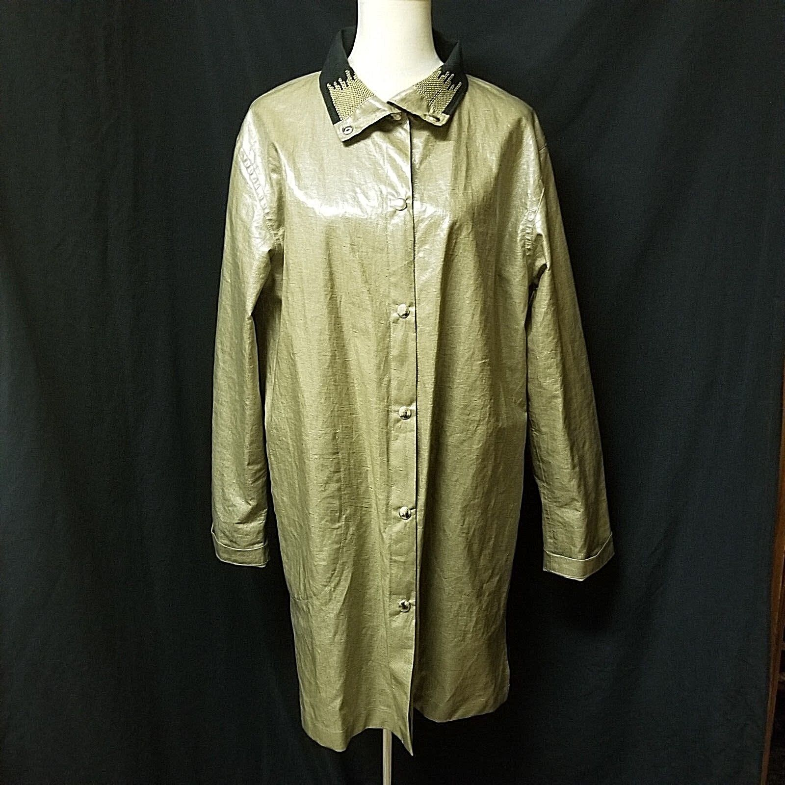 NWOT ROXY WELLS & TYLOR WELLS Sz M BEIGE COATED LINEN REVERSIBLE TRENCH RAINCOAT