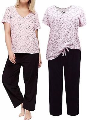 Ladies Ex Evans Pink Floral Pyjama Set Womens PJS Nightwear Lounge Plus Size