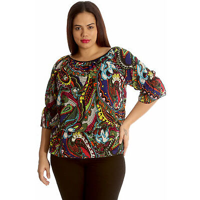 New Women Plus Size Top Ladies Paisley Print Gypsy Chiffon Elastic Sale Nouvelle