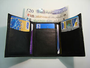 Soft Leather Gents Trifold Wallet With 10 Credit Cards Slots 2 Paper Money Slots