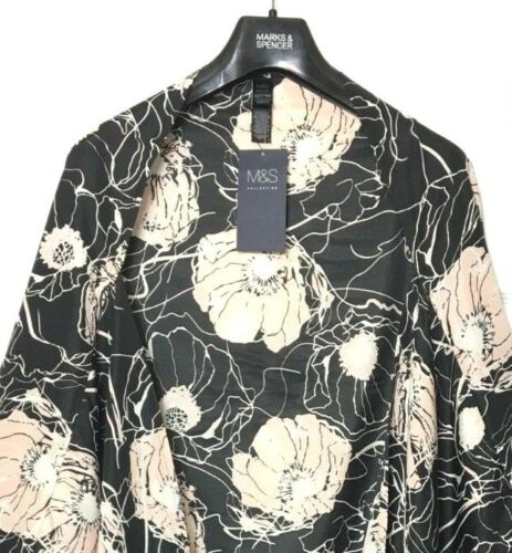 M/&S Ladies Kaftan Black Floral Cover Up Kimono BNWT Marks