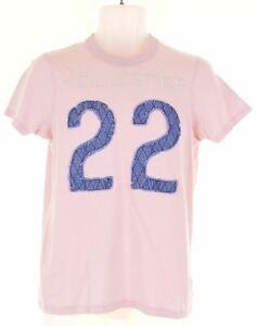 Hollister-Para-Hombre-Grafico-T-Shirt-Top-Algodon-Rosa-Pequena-U217