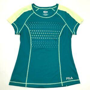 Fila-Femmes-Vert-Performance-Chemise-Sec-Manches-Courtes-Taille-M-Gym-Athletique