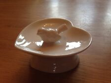 White Ceramic Bird Heart Shaped Jewellery Trinket Dish Vintage Sass & Belle Gift