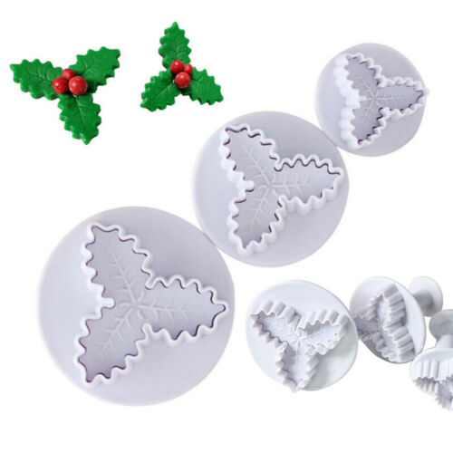 Plastic Biscuit Cutters Plunger Cutter Cookie Holly Leaves Christmas DIY Craft
