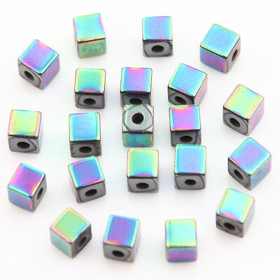 50/100PCS Colorful Non-Magnetic Stone Cube Shape Loose Spacer Craft Beads 3x3mm