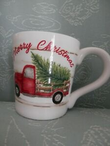 Maxcera-Oversized-Mug-Christmas-Tree-w-Red-Vintage-Truck-on-Both-Sides-New