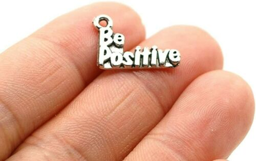 10 Word Charms Quote Pendants Antiqued Silver Be Positive Inspirational Jewelry