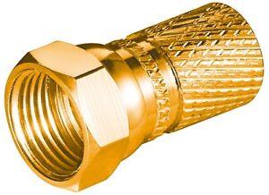 4x-F-Stecker-8-2mm-Lange-20mm-mit-breiter-Mutter-vergoldet-f-Kabel-8-2-mm